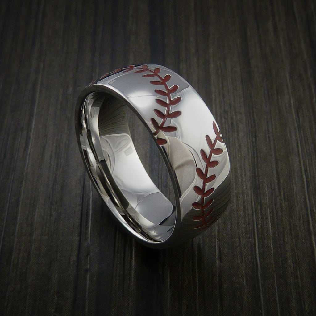 Titanium Double Stitch Baseball Ring with Polish Finish - Baseball Rings  - 1