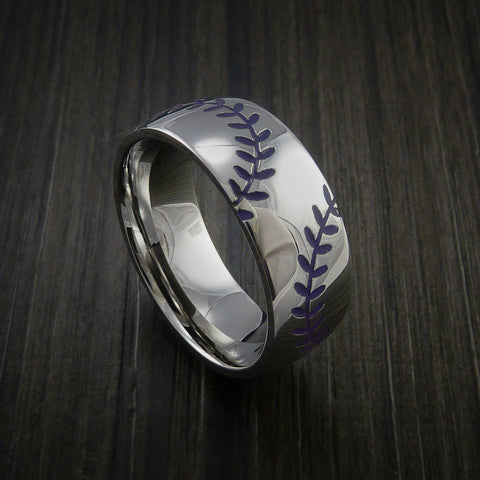 Titanium Double Stitch Baseball Ring with Polish Finish - Baseball Rings  - 7