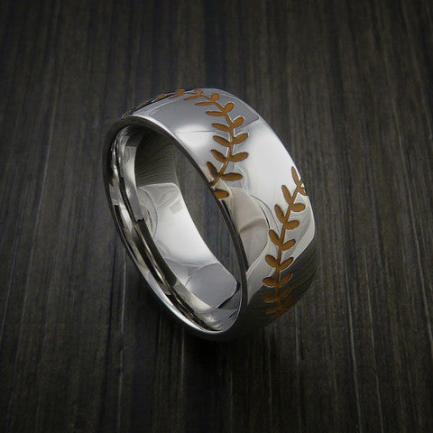 Titanium Double Stitch Baseball Ring with Polish Finish - Baseball Rings  - 4