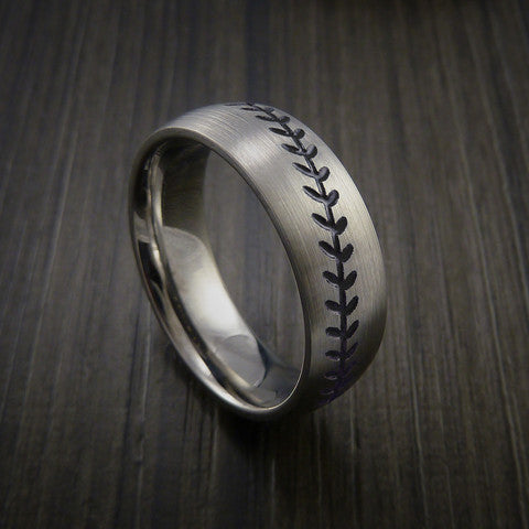 Titanium Baseball Ring with Satin Finish - Baseball Rings  - 11