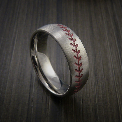Titanium Baseball Ring with Satin Finish - Baseball Rings  - 2