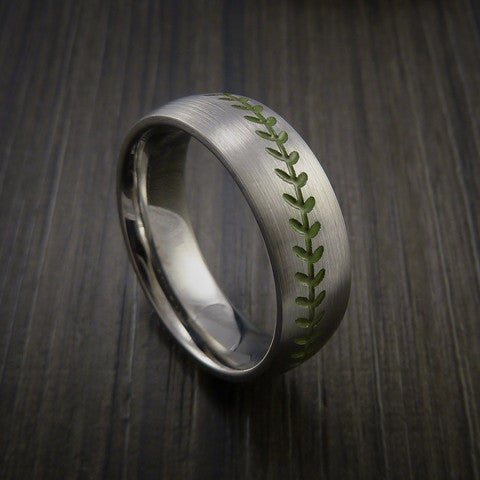 Titanium Baseball Ring with Satin Finish - Baseball Rings  - 5