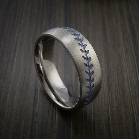 Titanium Baseball Ring with Satin Finish - Baseball Rings  - 6