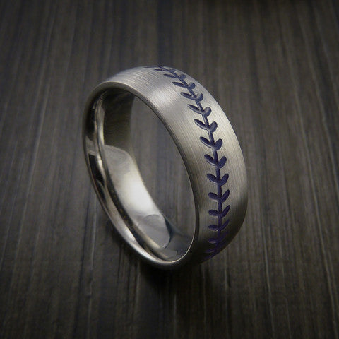 Titanium Baseball Ring with Satin Finish - Baseball Rings  - 8