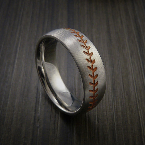 Titanium Baseball Ring with Satin Finish - Baseball Rings  - 3