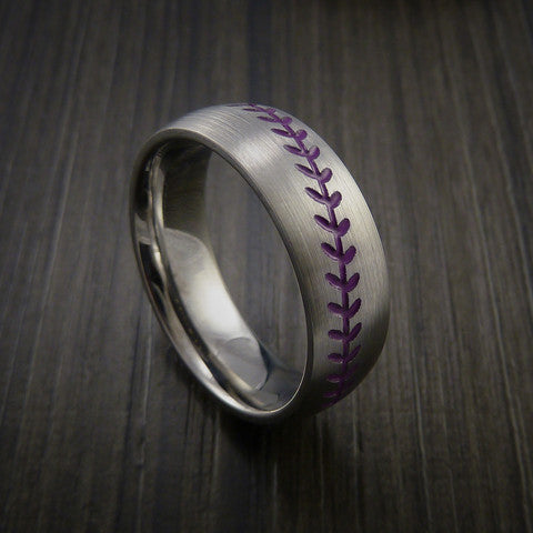 Titanium Baseball Ring with Satin Finish - Baseball Rings  - 9