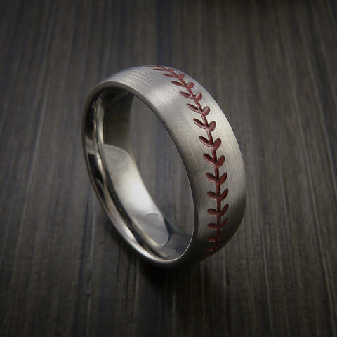 Titanium Baseball Ring with Satin Finish - Baseball Rings  - 1