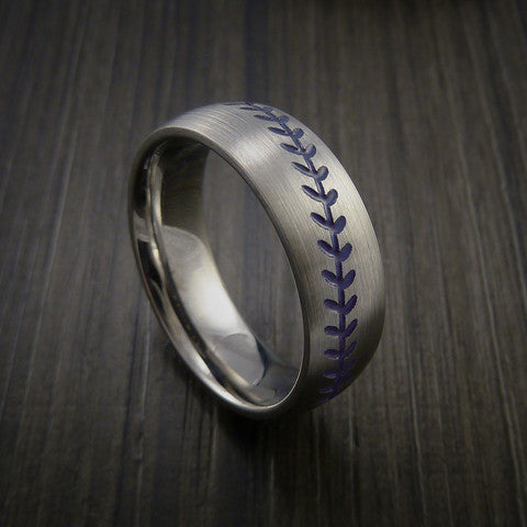 Titanium Baseball Ring with Satin Finish - Baseball Rings  - 7