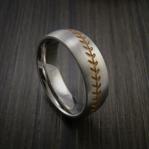 Titanium Baseball Ring with Satin Finish - Baseball Rings  - 4