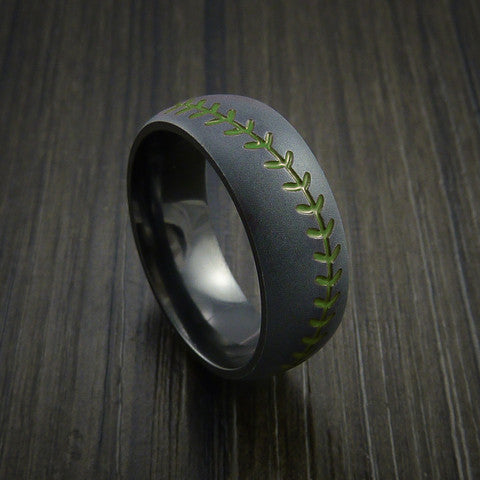 Black Zirconium Baseball Ring with Bead Blast Finish - Baseball Rings  - 5