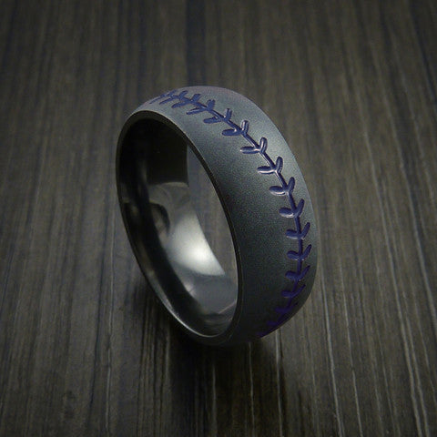 Black Zirconium Baseball Ring with Bead Blast Finish - Baseball Rings  - 8