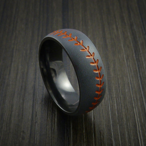 Black Zirconium Baseball Ring with Bead Blast Finish - Baseball Rings  - 3