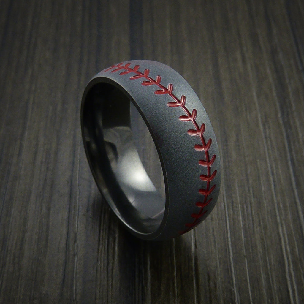 Black Zirconium Baseball Ring with Bead Blast Finish - Baseball Rings  - 1