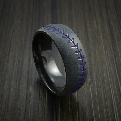 Black Zirconium Baseball Ring with Bead Blast Finish - Baseball Rings  - 7