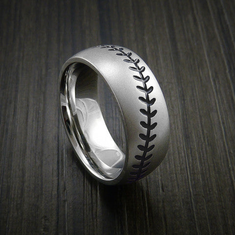 Cobalt Chrome Baseball Ring with Bead Blast Finish - Baseball Rings  - 11