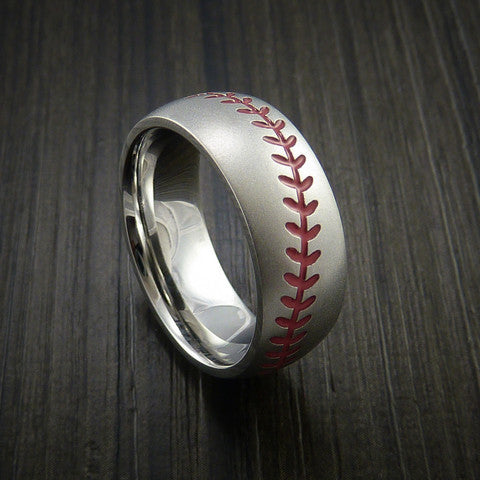Cobalt Chrome Baseball Ring with Bead Blast Finish - Baseball Rings
