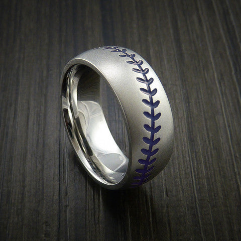 Cobalt Chrome Baseball Ring with Bead Blast Finish - Baseball Rings  - 8