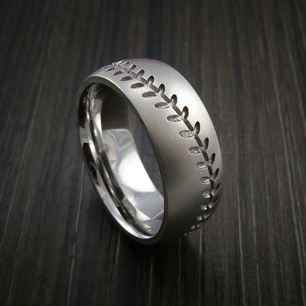 Titanium Baseball Ring with Bead Blast Finish - Baseball Rings  - 13