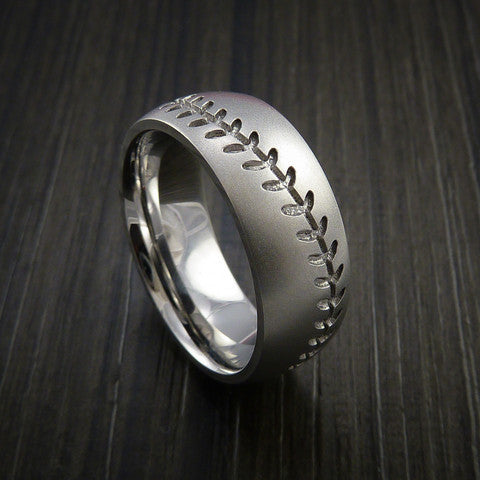 Cobalt Chrome Baseball Ring with Bead Blast Finish - Baseball Rings  - 13