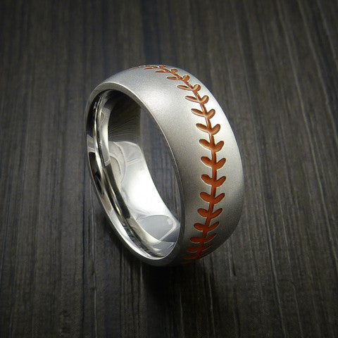 Cobalt Chrome Baseball Ring with Bead Blast Finish - Baseball Rings  - 3