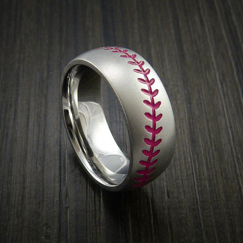 Cobalt Chrome Baseball Ring with Bead Blast Finish - Baseball Rings  - 10