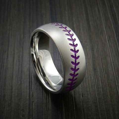 Cobalt Chrome Baseball Ring with Bead Blast Finish - Baseball Rings  - 9