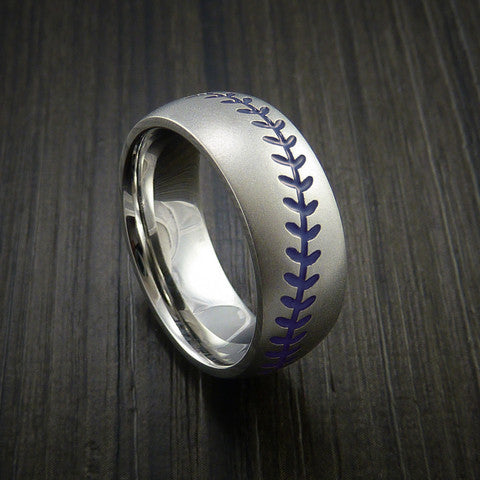 Cobalt Chrome Baseball Ring with Bead Blast Finish - Baseball Rings  - 7