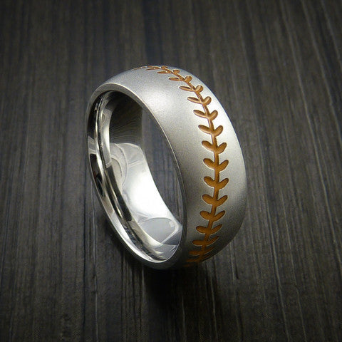 Cobalt Chrome Baseball Ring with Bead Blast Finish - Baseball Rings  - 4
