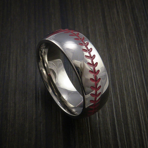 Cobalt Chrome Baseball Ring with Polish Finish - Baseball Rings  - 2