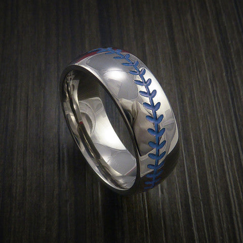 Cobalt Chrome Baseball Ring with Polish Finish - Baseball Rings  - 6