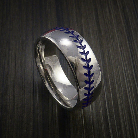 Cobalt Chrome Baseball Ring with Polish Finish - Baseball Rings  - 8