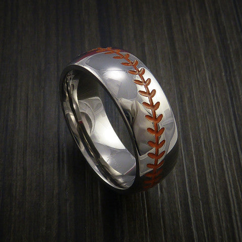Cobalt Chrome Baseball Ring with Polish Finish - Baseball Rings  - 3