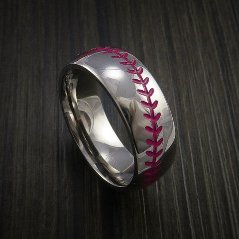 Cobalt Chrome Baseball Ring with Polish Finish - Baseball Rings  - 10