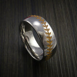Cobalt Chrome Baseball Ring with Polish Finish - Baseball Rings  - 4