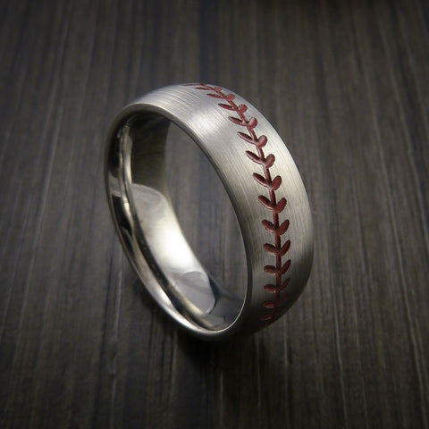 Cobalt Chrome Baseball Ring with Satin Finish - Baseball Rings  - 1