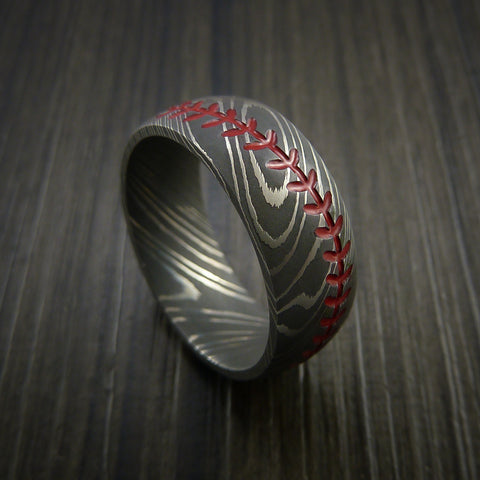 Damascus Steel Baseball Ring with Acid Wash Finish - Baseball Rings