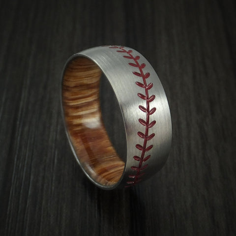 Titanium Baseball Ring with Red Stitching and Wood Sleeve Fan Band Any Size and Color