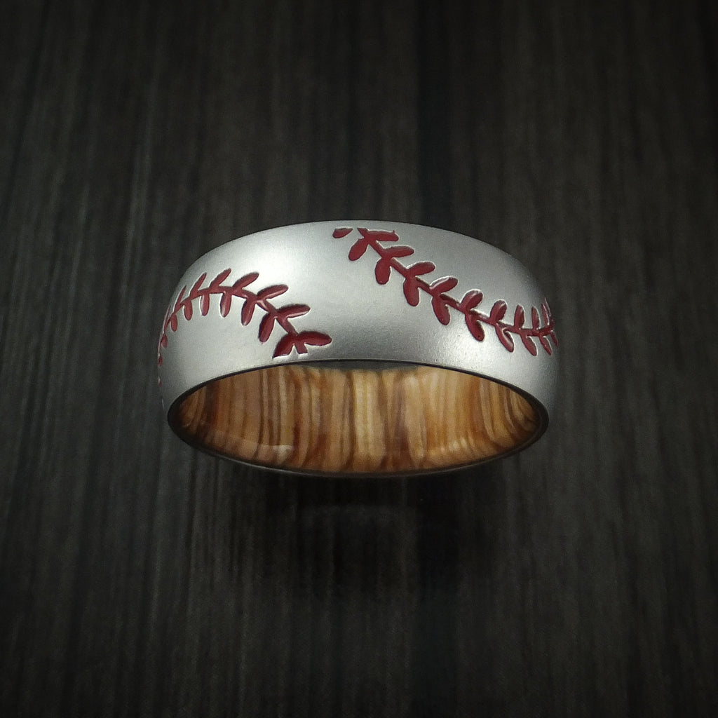 Cobalt Chrome Double Stitch Baseball Ring with Wood Sleeve and Bead Blast Finish
