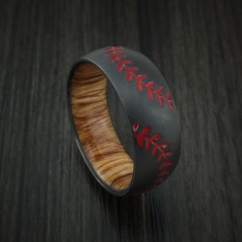 Black Zirconium Double Stitch Baseball Ring with Custom Color and Hardwood Sleeve