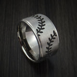 Cobalt Chrome Wide Double Stitch Baseball Ring Custom Made Band - Baseball Rings  - 1
