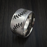 Cobalt Chrome Wide Double Stitch Baseball Ring Custom Made Band - Baseball Rings  - 4