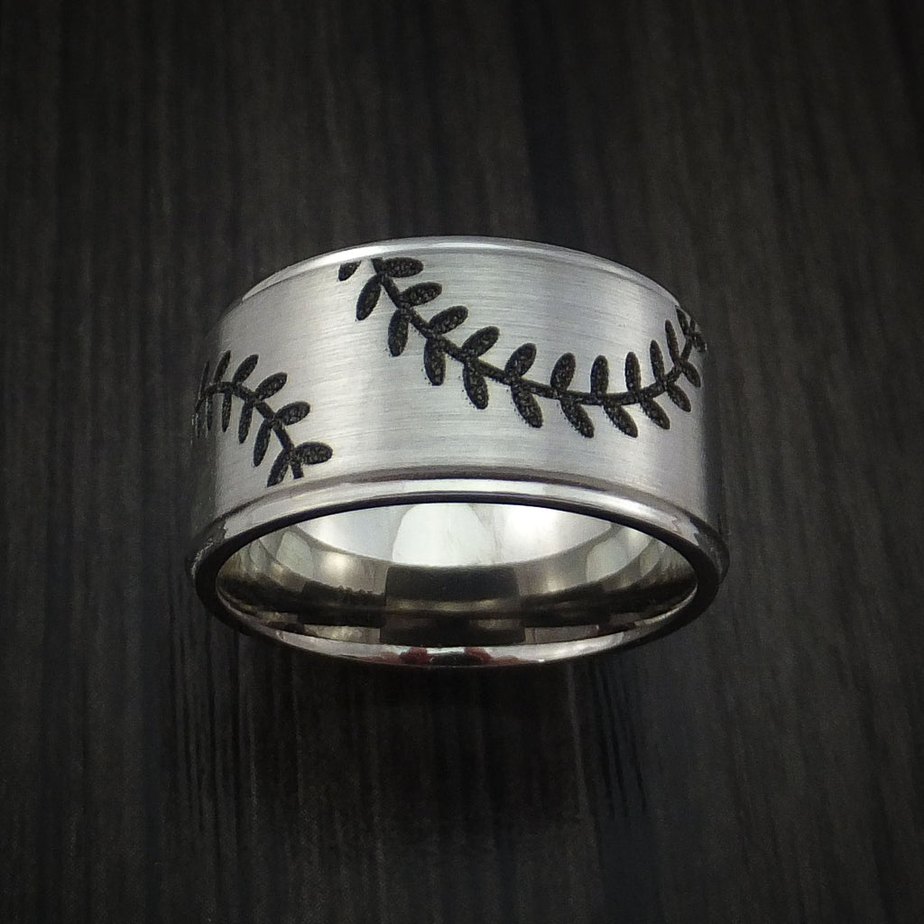 Cobalt Chrome Wide Double Stitch Baseball Ring Custom Made Band - Baseball Rings  - 2