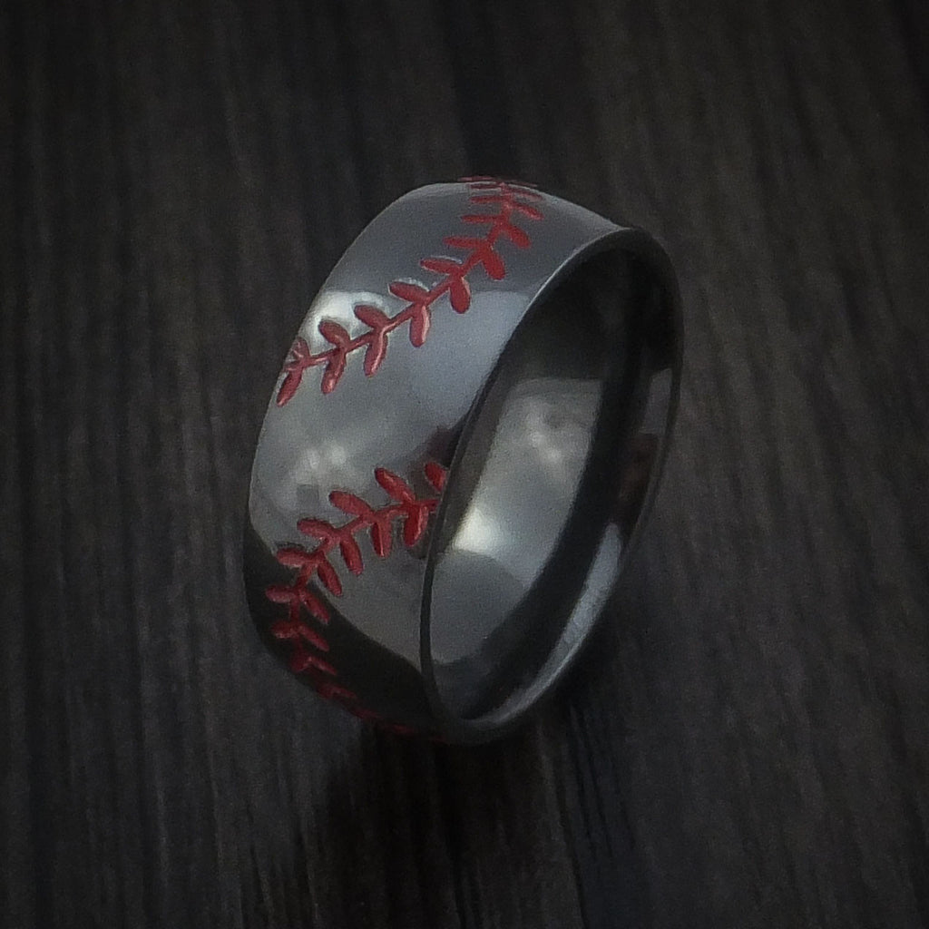 Black Zirconium Double Stitch Baseball Ring with Polish Finish - Baseball Rings  - 4