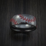 Black Zirconium Double Stitch Baseball Ring with Polish Finish - Baseball Rings  - 2