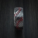 Kuro Damascus Steel Double Stitch Baseball Ring with Acid Finish - Baseball Rings  - 3