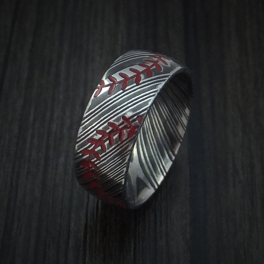 Kuro Damascus Steel Double Stitch Baseball Ring with Acid Finish - Baseball Rings
