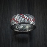 Kuro Damascus Steel Double Stitch Baseball Ring with Acid Finish - Baseball Rings  - 2