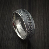 Kuro Damascus Steel Baseball Stitch Ring with Tumble Finish - Baseball Rings  - 1