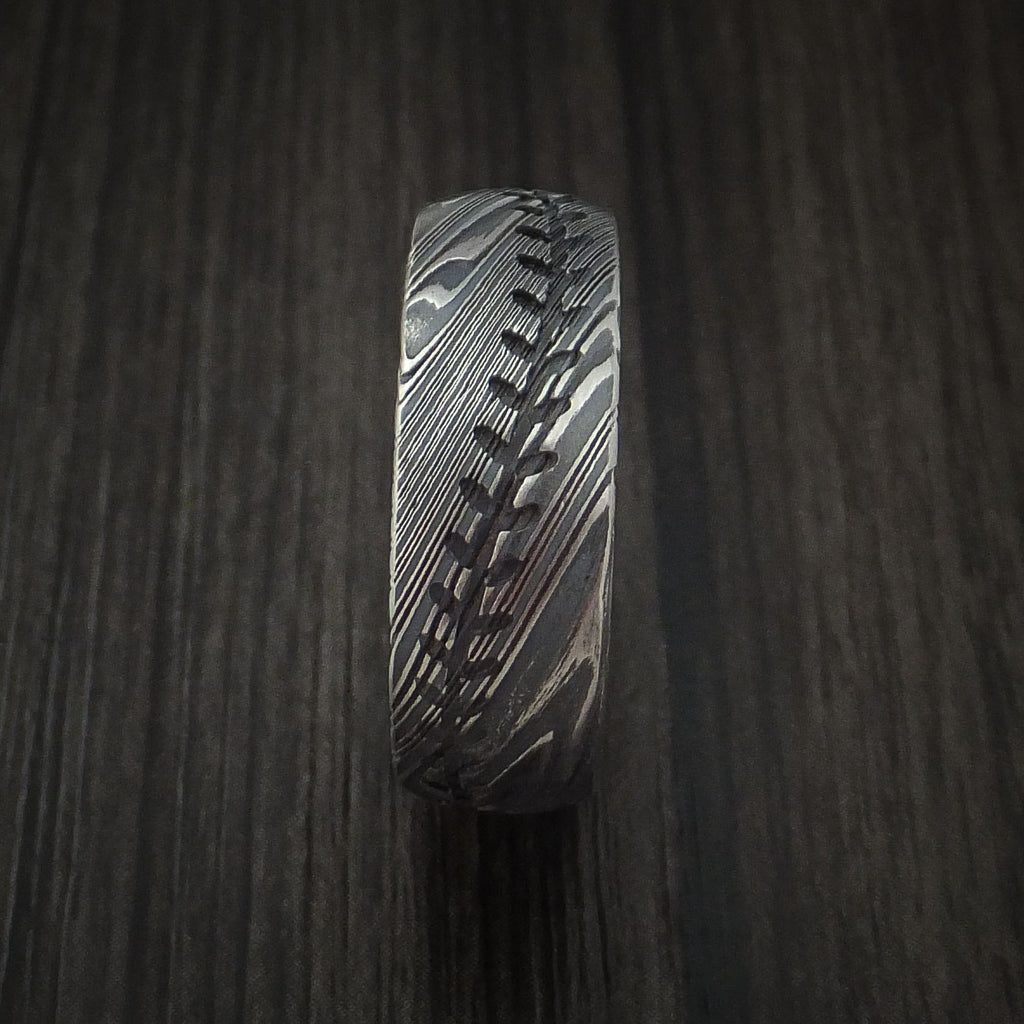 Kuro Damascus Steel Baseball Stitch Ring with Tumble Finish - Baseball Rings  - 3