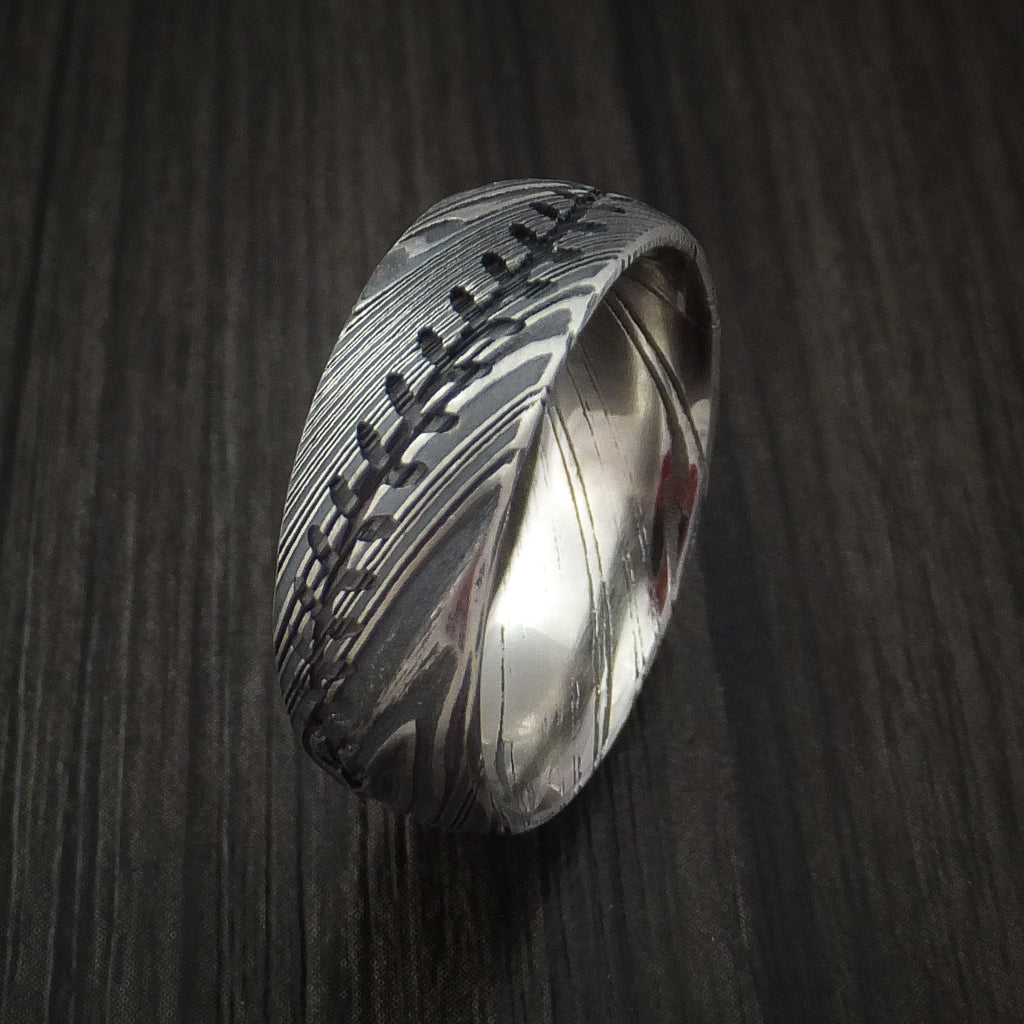 Kuro Damascus Steel Baseball Stitch Ring with Tumble Finish - Baseball Rings  - 4